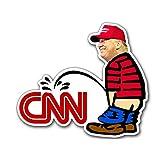 JR Studio 3×5インチ トランプ・ピッシング CNN型ステッカー - 面白い 覗き見政治大統領ビニールデカールステッカー 車用防水デカールバンパーステッカー