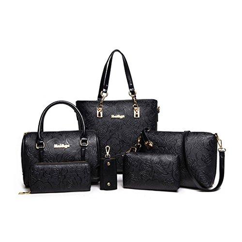 DEERWORD Bolsos Para Mujer Shoppers y Bolsos de Hombro Bolsos Bandolera Vestir 5 piezas Fekete