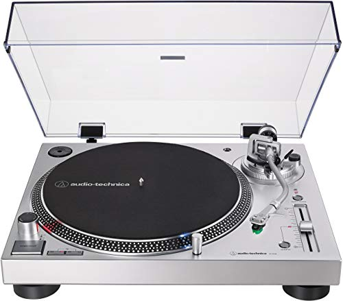 Audio-Technica AT-LP120XUSB-SV Direct-Drive Turntable (Analog & USB), Silver, Fully Manual, Hi-Fi, 3 Speed, Convert Vinyl to Digital, Anti-Skate Control, Variable Pitch Control