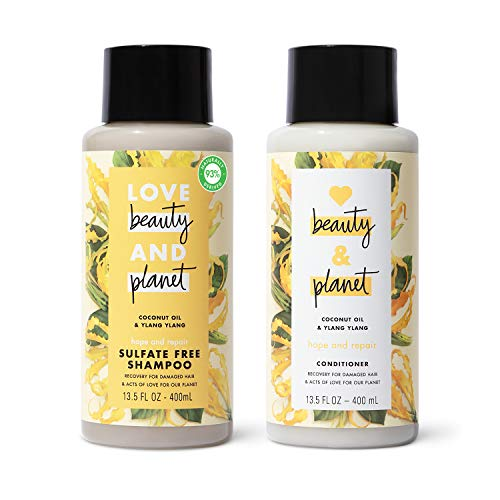 Love Beauty And Planet Shampoo and Conditioner for Damaged Hair Coconut Oil & Ylang Ylang 13.5 oz, 2...