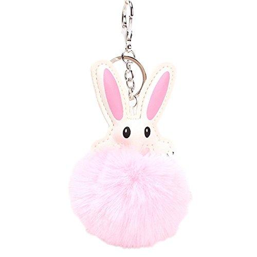 Gemini_mall® Schlüsselanhänger mit Bommel, niedlicher Kaninchen-Kunstfell, Ball, Pompon, Schlüsselanhänger, Auto, Handtasche, Anhänger, Schlüsselanhänger, Geschenk für Frauen und Mädchen