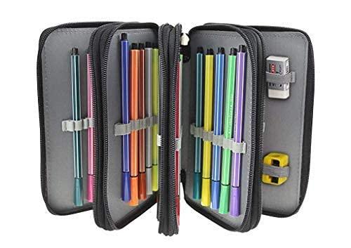 Astuccio scolastico di grande capacità per 72 matite, in tela, professionale, a 4 strati