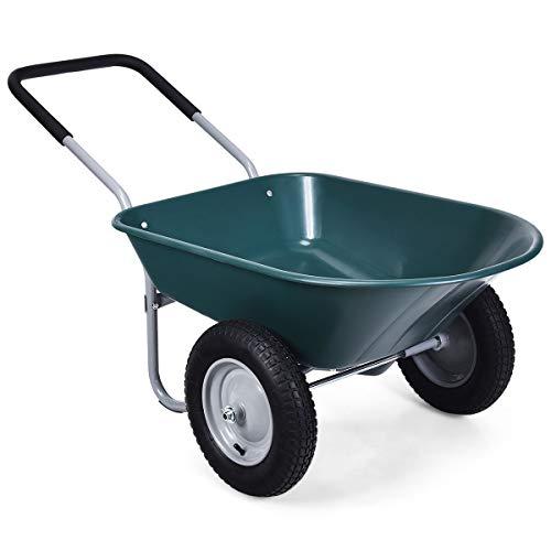 Goplus Dual Wheel Wheelbarrow, Heavy Duty Garden Cart, 330 lbs Capacity Utility Cart with Two 13 inches Pneumatic Tires for Outdoor Lawn Yard Farm Ranch