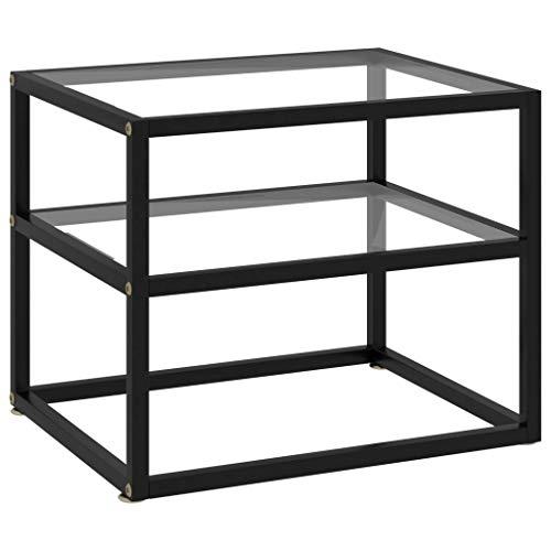 vidaXL Konsolentisch Flurtisch Konsole Beistelltisch Sideboard Wandtisch Frisiertisch Glastisch Deko Transparent 50x40x40cm Hartglas Stahl