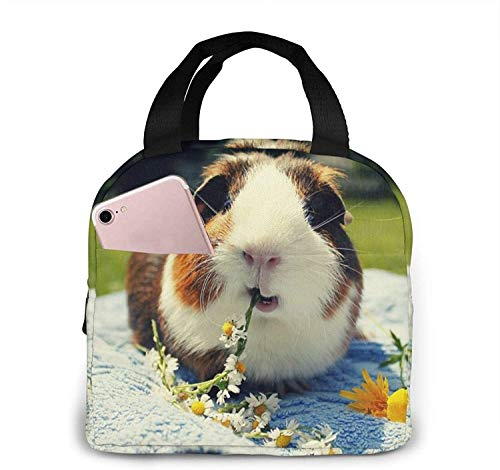Guinea Pigs Funny Lunch Bag for Women,Lunch Bag with Shoulder Strap,Durable Leakproof Picnic Box