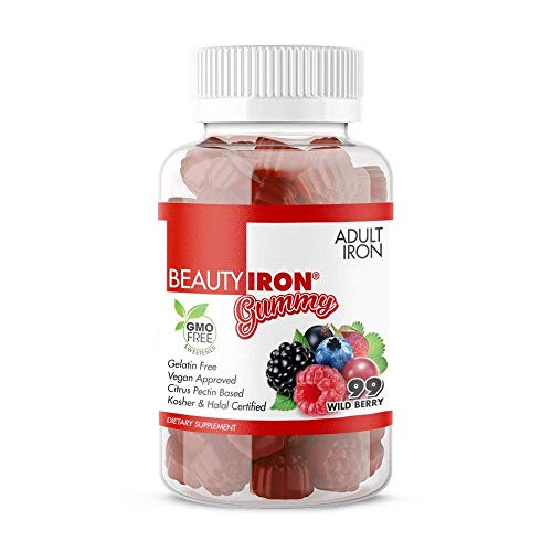 BeautyFit - BeautyIron Gummies - Best Iron Supplement for Women - Easy on The Stomach - Doesn't Contain Artificial Flavors - Ideal for Daily Use - Nourishes Blood Cells - Wild Berry - 90 Count