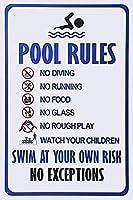 2個 独自のリスクのあるスイミングプールのルール水泳の警告ブリキの看板金属板装飾看板家の装飾プラーク看板地下鉄の金属板8x12インチ メタルプレート レトロ アメリカン ブリキ 看板