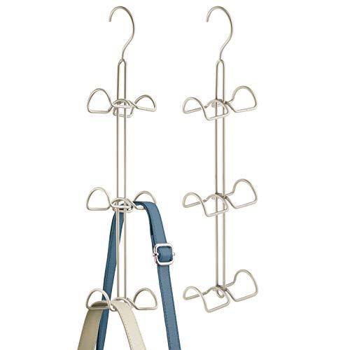 mDesign Juego de 2 colgadores de ropa multiusos – Percheros metálicos dobles para ordenar armarios y ahorrar espacio – Organizador de bolsos, chaquetas, pañuelos, accesorios y mochilas – plateado mate
