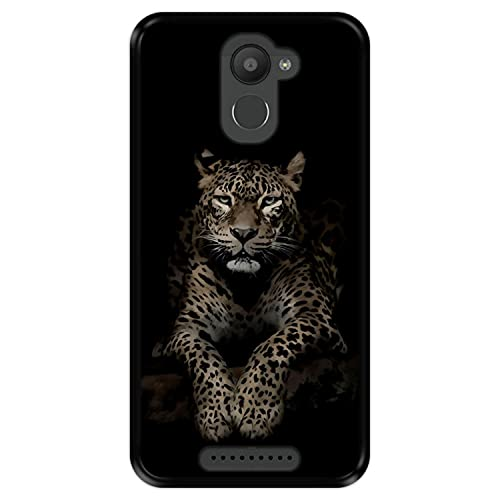 Hapdey Funda Negra para [ Bq Aquaris U Plus ] diseño [ Leopardo, Mirando ] Carcasa Silicona Flexible TPU