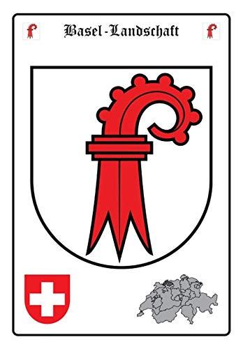 Blechschild 20x30cm gewölbt Basel-Landschaft Wappen Deko Geschenk Schild