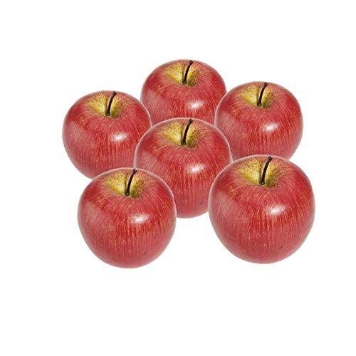 YDong R 6 Stueck Dekorativer Kuenstlicher Apfel Kunststoff Obst Imitation Hause Dekoration - rot