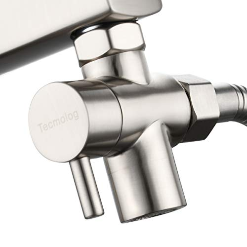 Tecmolog 3 Vie Valvola Deviatore in Ottone Deviatore Rubinetto per Cucina o Bagno M22 X M24, Nichel, SBA021CNA