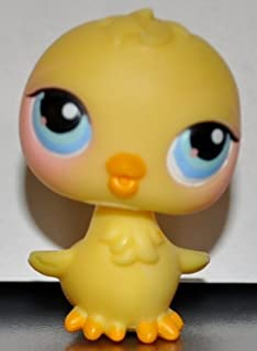 Chick #13 (Yellow, Blue Eyes, Orange Beak, Varying shades of Pink around eyes, Chicken) Littlest Pet Shop 2004 (Retired) Collector Toy - LPS Collectible Replacement Single Figure Loose (OOP Out of Package)