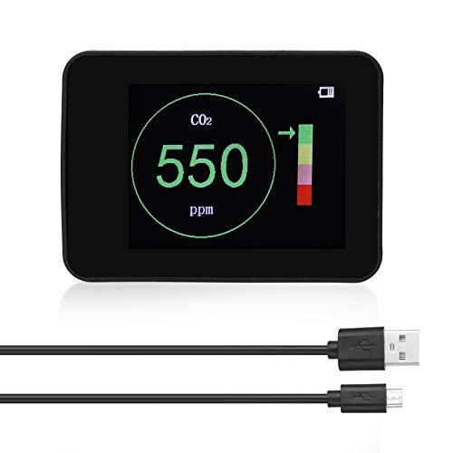 VISLONE 400~5000 Erkennungsbereiche Intelligenter CO2-Detektor Intelligente Farbring-Eingabeaufforderungsfunktion Intelligentes Luftqualitätsdetektor-Tool für den Innenbereich Desktop Indoor Outdoor