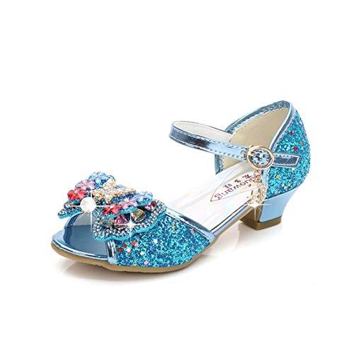 Youpin Zapatos de piel para niñas de princesa con purpurina, estilo casual, con purpurina, para niños, de tacón alto, con nudo de mariposa, azul, rosa, plata (color: azul, talla de zapato: 36)