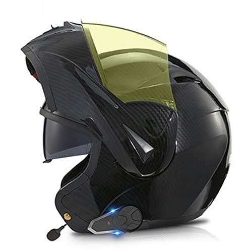 Casco de Moto Bluetooth Integrado, Radio FM Incorporada, Dispositivo de Conexión Bluetooth para Mujeres y Hombres ECE Homologado C,S(55-56)