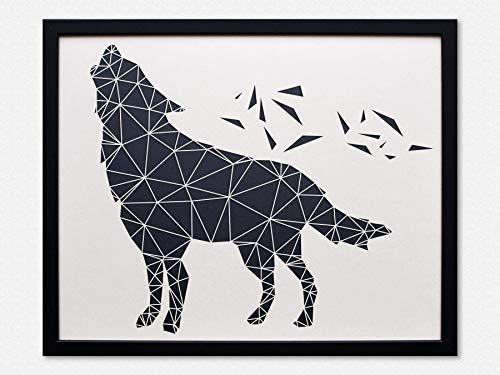 Geometrische 3D Wanddeko - Origami Wolf mit Rahmen