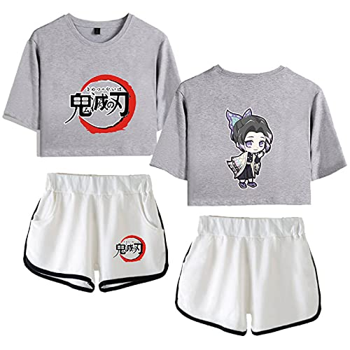 Yumenam Damen Demon Slayer Crop Top T-Shirts und Shorts 2 Stück Anzug Schmetterling Ninja Gedruckt Kurzarm Shirt Shorts Sommer Pyjama Set Sportanzug Cosplay Outfits