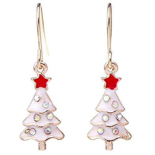 Lumanuby 2X Navidad Pendientes Pendientes Largos Femeninos Moda de Plata Cristal Largos Femeninos Estilo étnico...