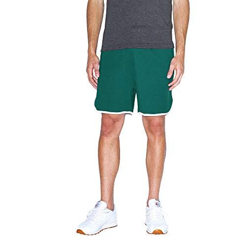 American Apparel Herren Interlock Basketball Legere Shorts, Wald/Weiß, Klein