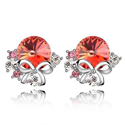 BinLZ Pendientes de Cristal - Pendientes de Moda con Flores Accesorios Femeninos, Agua Lotus Red 2-154