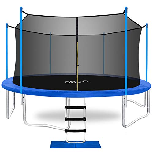 ORCC 15 14 12 10 8FT Trampoline 450 LBS Weight Capacity for Kids Adults with Safety Enclosure Net Wind Stakes Rain Cover Ladder, Safe Outdoor Trampoline for Backyard (12ft)