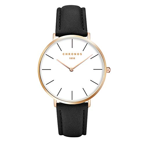 Herrenuhren Damenuhren Schwarz Einfache Armbanduhren für Damen und Herren Lederband