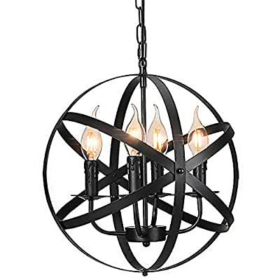 Industrial Pendant Light Vintage Spherical Pendant Lighting with 4 E12 Chandelier Lamp Base Farmhouse Black Metal Kitchen Dining Room Light Fixture, 1-Pack