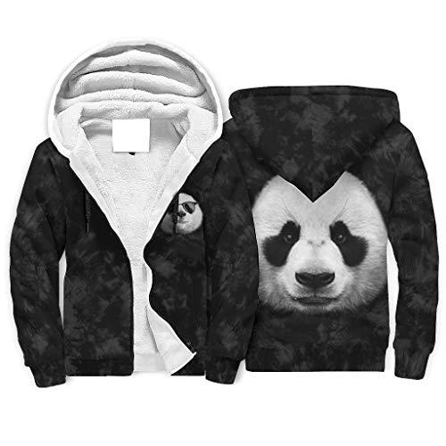 IOVEQG Cool Panda Face 3D Gedruckt Full-Zip Hooded Fleece Sweatshirt mit Tasche für Damen und Herren Gr. 4X-Large, weiß