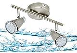 Trango 2er Spots IP44 LED Badleuchte I Deckenleuchte TG1009-22 in Nickel matt I Flurlampe, WC Lampe, Deckenlampe, Strahler, schwenkbar incl. 2 x 5 W LED Leuchtmittel