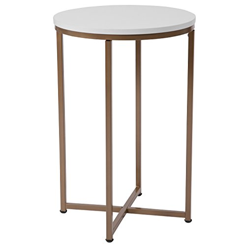 Flash Furniture Hampstead Collection White End Table with Matte Gold Frame