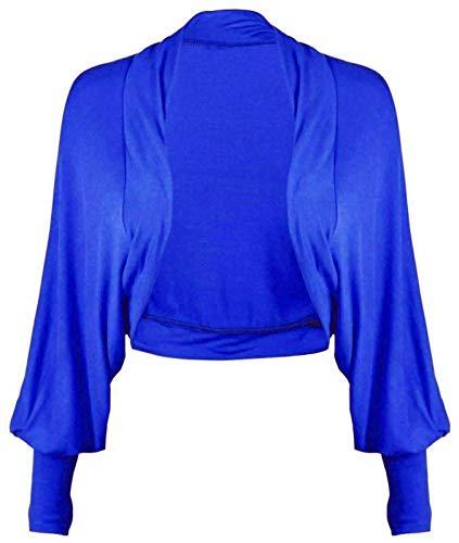 FASHION 7STAR Cárdigan corto de manga larga para mujer con diseño de murciélago, elástico, parte superior abierta
