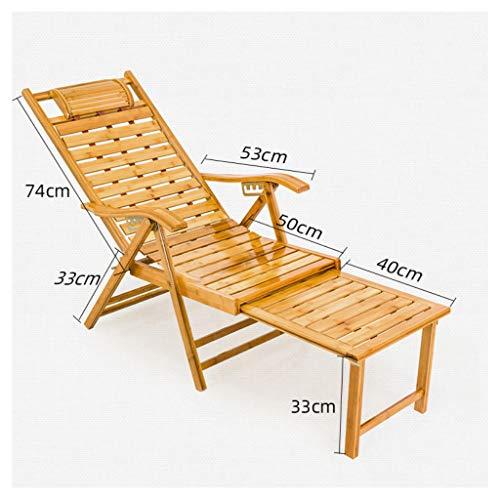 Chaise Longue Sun Lounger, Bambou avec pédale télescopique inclinable Sun Lounger Outdoor Garden Patio Gravity Chair