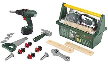 Theo Klein 8520 Caja de herramientas Bosch, Con martillo, sierra, llave inglesa y mucho más, Incluye destornillador eléctrico a pilas con luz y sonido, Medidas: 31 cm x 16,5 cm x 12,5 cm,