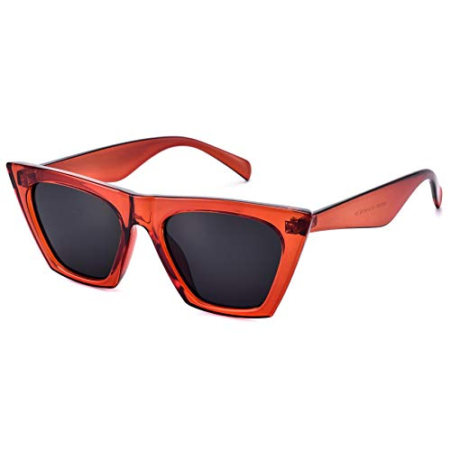 Mosanana Retro Vintage Square Cateye Sunglasses for Women Small Chic Red Mod Clout Goggles Sharp Pointed Pointy Designer Inspired Tip Cat Eye Edge Trendy Beach Shades Sunnies UVA UVB Summer