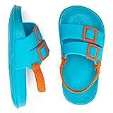 Toddler Boys Girls Slide Sandals Slip-On Footbed Outdoor Water Shoes Beach/Pool (Blue/Orange,8-9 Toddler)