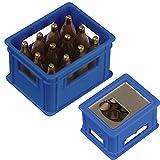 Flaschenöffner in der Form eines Bierkastens / Farbe: blau