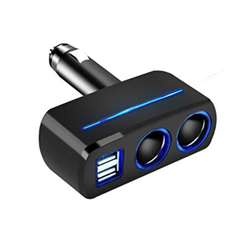 Wmaple wufeng 2-Socket de mechero Interruptor Separado Adaptador del Divisor del zócalo con Encendedor con Cargador de Coche LED del Coche LED de la batería con Doble Puerto USB