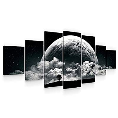 Startonight Huge Canvas Wall Art - Romantic Black and White Moon Large Framed Set of 7 40 x 95 Inches by Made in Transylvania