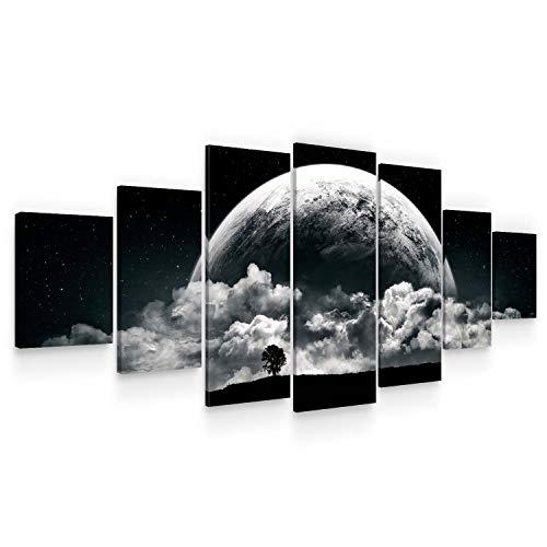 Startonight Grande Cuadro sobre Lienzo La Luna Romántica, Impresion en Calidad Fotografica Enmarcado y Listo para Colgar Diseño Moderno Decoración XXL Formato Multipanel 7 Piezas 100 x 240 CM