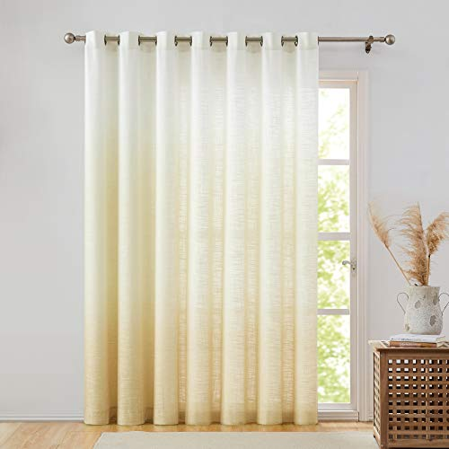 Central Park Ombre Window Door Curtain 100' Extra Wide Linen Ombre Gradient Print on Rayon Blend Treatment for Sliding Patio Door with Grommets,Cream White to Yellow/Light Gold,100' x 84', 1 Panel