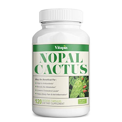 Vitapia Nopal Cactus 1000mg(20000mg) 20:1 Extract Supplement- 120 Veggie Capsules - Vegan and Non-GMO - Supports Body Pain, Anti-inflammatory, Healthy Cholesterol Levels