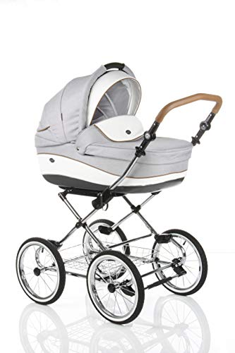 KINDERWAGEN BUGGY KOMBIKINDERWAGEN KLASSISCHER WAGEN RETRO BABYSCHALE VON MAXI -COSI (E-54 Light Grey-White Leather, 2IN1)