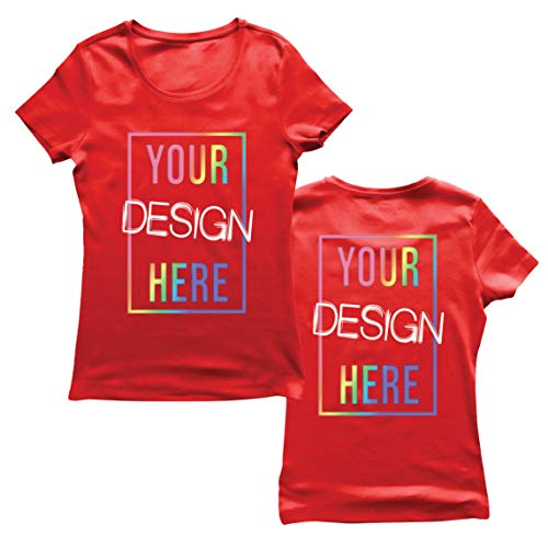 lepni.me Camiseta Mujer Impresión Personalizada de 2 Caras en el Frente y en la Parte Posterior, Texto Personalizado o Diseño de su Propia Imagen (Small Rojo Multicolor)