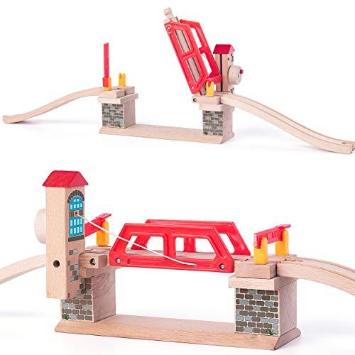 Set: Holz - Klappbrücke / Hebebrücke / Brücke + 2 Schienen - für Holzeisenbahn - passend für alle Schienen-Systeme & Straßen - z.B. Brio / Heros / Eichhorn / ..