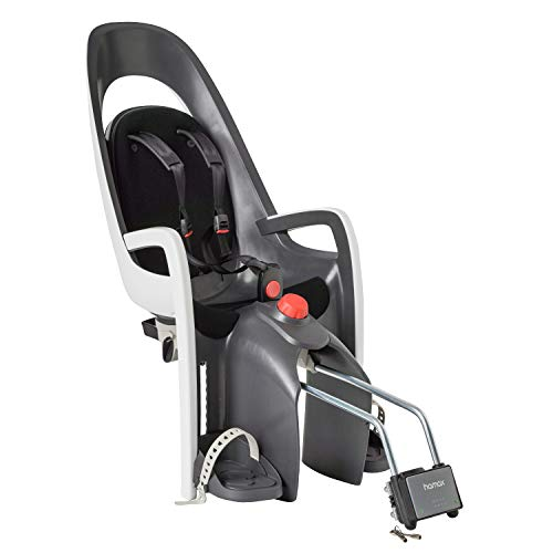 Hamax Caress Rear Child Bike Seat - Frame Mount, Ultra-Shock Absorbing, Adjustable to Fit Kids (Baby Through Toddler) 9 mo - 48.5 lb. (Grey/White)