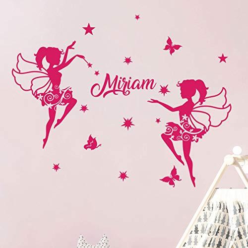 Gepersonaliseerde voornaamstickers | Sticker Ballerina's | Wanddecoratie voor de kinderkamer | 2 vellen à 30 x 35 cm en 40 x 30 cm | Fuchsia
