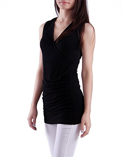 HDE Womens V Neck Ruched Sleeveless Tank Top Surplice Slimming Wrap Sexy Blouse