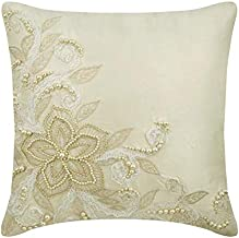 Designer Ivory Decorative Accent Cushion Covers 40x40 cm, Silk Cushion CoverHome Decor, French Toile, Floral, Pearl, Lace...