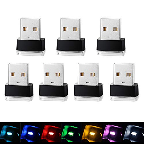 Mini USB Car Interior Atmosphere Light,Universal USB Interface Plug-in,Ambient Lighting Kit,Decorate Atmosphere Light at Night,White Blue Red Green Pink-Purple Yellow Ice Blue 7 Colors